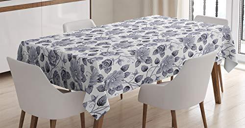 ABAKUHAUS Gris Mantele, Arte Floral de Las Rosas de la Vendimia, Fácil de Limpiar Colores Firmes y Durables Lavable Personalizado, 140 x 200 cm, Gris Blanco