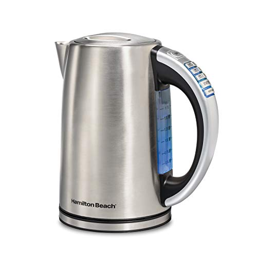 Hamilton Beach Temperature Control Electric Tea Kettle, Water Boiler & Heater, 1.7L, Cordless, LED Indicator, Keep Warm, Auto-Shutoff & Boil-Dry Protection, Stainless Steel (41020R)