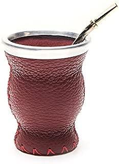 BALIBETOV [NEW] Leather & Glass Yerba Mate Gourd set (Mate cup) with Yerba Mate Bombilla (straw) (BURGUNDY)