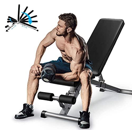 EEUK Banc de Musculation Pliable Multifonctions Lit Sit-ups Réglable en 7 Positions Flat Incline Decline Multi Use pour la Maison et la Salle de Sport, 600 lbs Capacité