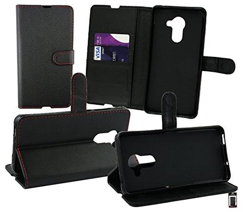 Emartbuy® Vodafone Smart Platinum 7 Brieftaschen Wallet Etui Hülle Case Cover aus PU Leder mit Kreditkartenfächern - Schwarz (Rot Stitching)