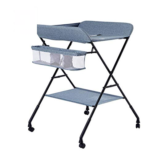 Baby changing table Estación para Cambiar Pañales Plegable con Almacenamiento, Administrador De Pañales Portátil para Tocadores Recién Nacidos, con Las Piernas Cruzadas, sobre Ruedas (Color: Azul)