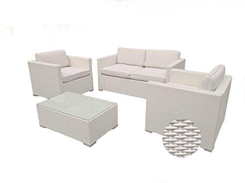 Set da giardino Musa mobili garden 4 pezzi Simil Vimini da giardino con divano poltrona tavolino-colore bianco panna