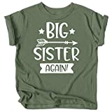 Arrow Big Sister Again Sibling Announcement Shirts for Baby and Toddler Girls Sibling Outfits Military Green Shirt