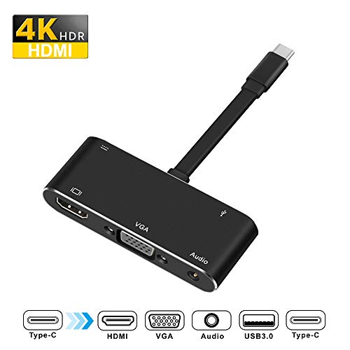 Rocketek USBCtoHDMI VGAAdapter, Type C Hub Adapter with 4K USB C to HDMI, USB C to VGA, USB 3.0 Port, Audio and Charging Port Compatible with Samsung S9/S8/Note 9/8/Apple MacBook/Nintendo Switch