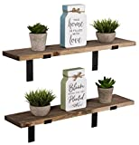 Imperative Décor Rustic Wood Floating Shelves Wall Mounted Storage Shelf with L Brackets USA Handmade| Set of 2 (Special Walnut, 24' x 5.5')