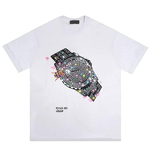 Camisetas Divertidas para Hombres, Reloj Creativo Imprimir Mangas Cortas, Camiseta de algodón Suave Premium,White-XL