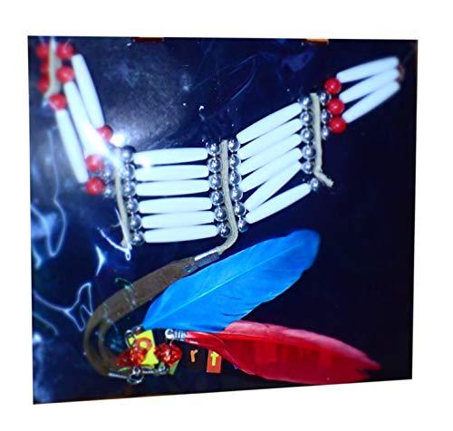 Conjunto de cuello guerrero indio, imitación hueso con plumas, perlas y cordón de cuero, ref: 42365