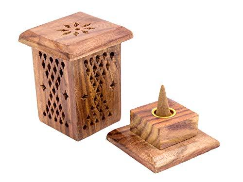 Luxflair Räucherkegel-Turm aus Sheesham-Holz, Räucherkegelhalter/Räucherbox, für Räucherkegel geeignet, verwendbar als Räuchergefäß oder Räucherkasten, ca. 6,5 x 6,5 x 10 cm