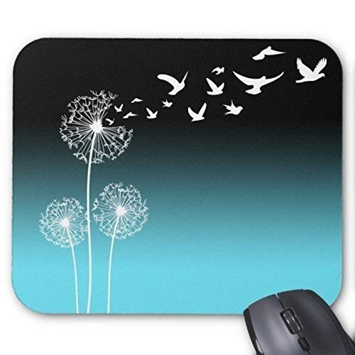 Customized Rubber Mouse pad Gaming Mouse Pad Style Dandelions Blow Into Birds Black and Teal Mouse Pad