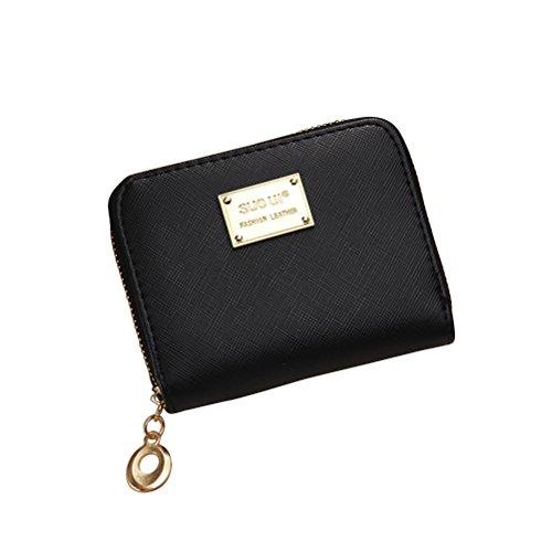 Tinksky Klein Portemonnaie mit Reißverschluss Damen Kleine Geldbeutel PU Leder Brieftasche für Frauen Mädchen (Schwarz)