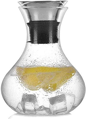 aipipl Jarra de Vidrio Vidrio Resistente al Calor Jarra de Jugo de Gran Capacidad Jarra de Agua Tapa abatible de Silicona de Acero Inoxidable sin Goteo Taza de té, a