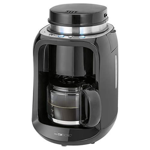 Kaffeemaschine mit Mahlwerk Glaskanne 0,6 Liter Edelstahl (600 Watt, Kaffeeautomat 6 Tassen, Warmhalteplatte, Schwarz)