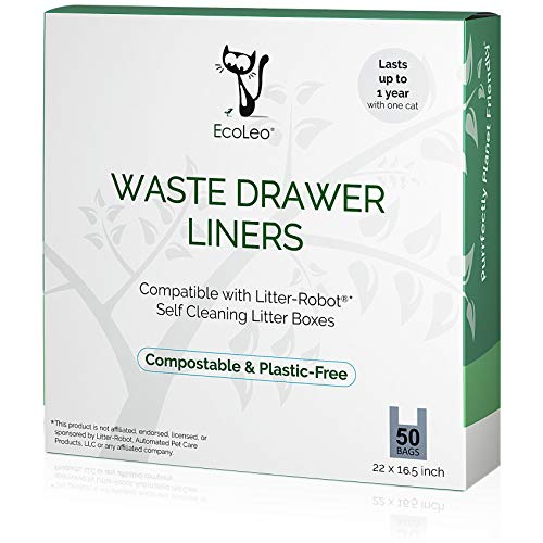 EcoLeo Liners, Compatible with Litter-Robot Waste Drawer, 50 Compostable, Plastic-Free bags with Handles, Thick, for Automatic Litter Boxes, 50-Count