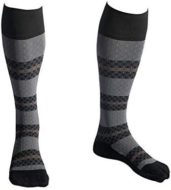 EvoNation Men Women Striped Design Knee High Graduated Compression Socks 15 20 mmHg Moderate product image