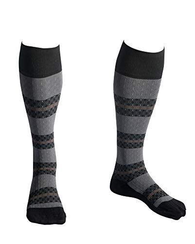 EvoNation USA Made Men & Women Striped Design Graduated Compression Socks 15-20 mmHg Medical Quality Knee High Orthopedic Moderate Pressure Travel Support Stockings Hose - Best Fit (Medium, Black)