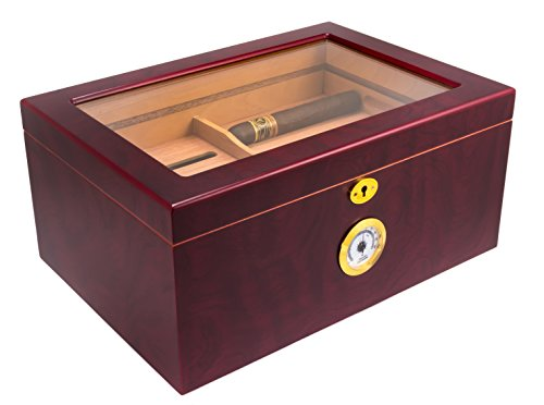 Mantello Cigar Humidor - Large Glass-Top Humidifier Box with Hygrometer & Removable Cedar Tray - Classic Wooden Storage Container with Divider - Best Cigar Accessory Gift for Men - Holds 50-100 Cigars
