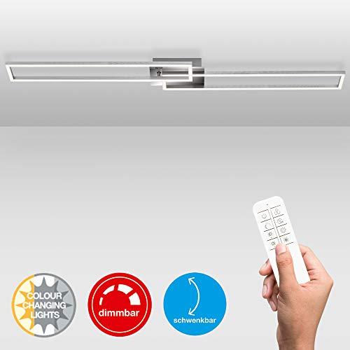 Briloner Leuchten LED Deckenleuchte, Deckenlampe dimmbar, inkl. Fernbedienung, inkl. Farbtemperatursteuerung, inkl. Nachtlichtfunktion und Timer, Chrom-Alu, 1100 x 248 x 78mm (LxBxH)