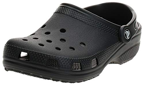 Crocs unisex adult Classic | Water Shoes Comfortable Slip on Shoes Clog, Black, 8 Women 6 Men US