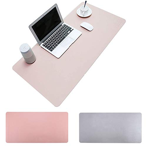 """BUBM PU Leather Double Sided Desk Pad Computer Mat Desk Writing Mat for Office and Home,Ultra Thin 2mm - 31.5""""x15.8"""" (Pink)"""