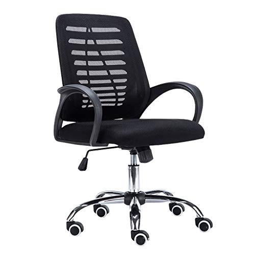 Bureaustoel, computerstoel met wieltjes, stoel van netstof, ergonomische stoel, geschikt voor thuis en op kantoor. Zwart