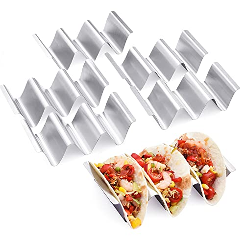 Taco Holder Stand,Set of 6 Stainless Steel Taco Tray,Stylish Taco Shell Holders, Rack Holds Up to 3 Tacos Each Keeping Shells Upright, Health Material Taco Rack by RTT -Oven,Grill and Dishwasher Safe