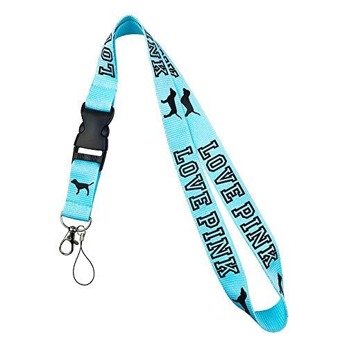 Lanyard Neck Strap Keychain ID Holder Keyring Keys(Blue+Black )
