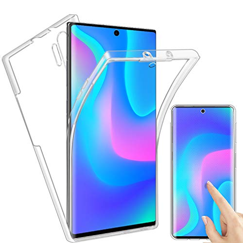 Reshias Funda para Samsung Galaxy Note 10 Plus, Transparente TPU Silicona + PC 2 en 1 360°Full Body Anti-Arañazos Protectora Carcasa Case Cover para Samsung Galaxy Note 10+