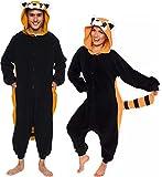 Silver Lilly Unisex Adult Pajamas - Plush One Piece Cosplay Red Panda Animal Costume (Black/Orange, Small)
