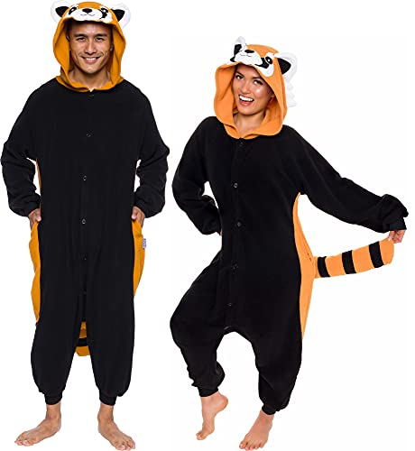 Unisex Adult Pajamas - Plush One Piece Cosplay Red Panda Animal...