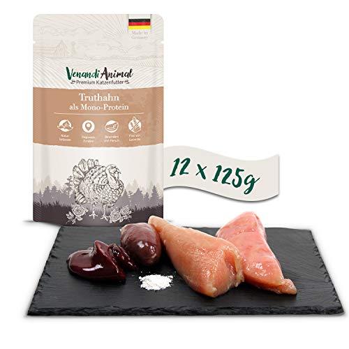 Venandi Animal Premium Nassfutter für Katzen, Truthahn als Monoprotein, 12 x 125 g, getreidefrei und naturbelassen, 1.5 kg
