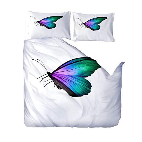 PANDAWDD 3D Designs Single Duvet Cover 135x200cm Color butterfly insect 3 Pieces Printed Bedding Quilt Duvet Cover With Zipper Closure 2 Pillow Cases Soft Microfiber Double Duvet Cover Set