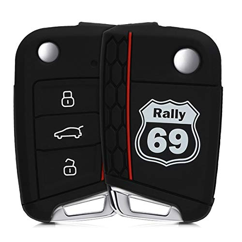 kwmobile Funda Compatible con VW Golf 7 MK7 Llave de Coche de 3 Botones - Carcasa Protectora Suave de Silicona - Rally 69