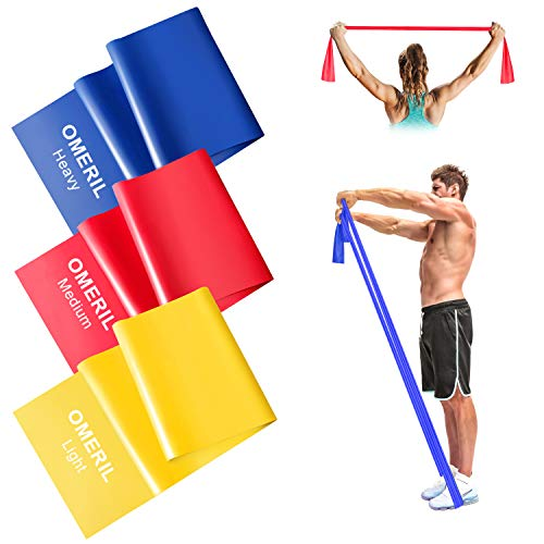 OMERIL Theraband Set Lang [ 2M x 3 ] Fitnessband Set Gymnastikband in 3 Stärke, Fitnessbänder Resistance Band, Trainingsband für Muskelaufbau, Reha, Yoga, Pilates, für Männer Frauen
