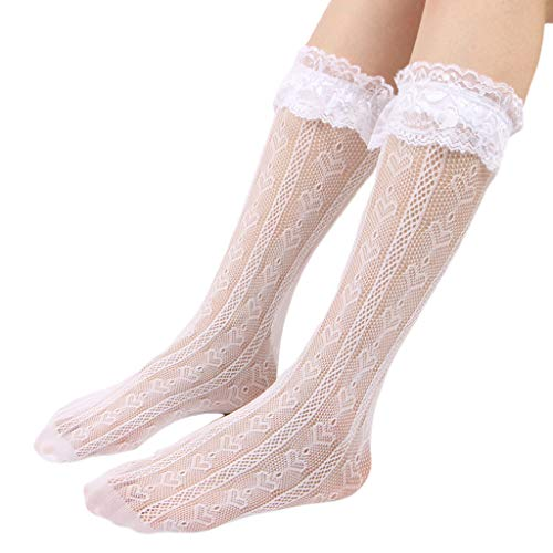 NA Japanische Lolita Gothic Sexy Hollow Out über Wade Lange Socken Liebe Herz Gemusterte Rüschen Spitzenoberteil Elastische Süße Student Strümpfe Aisumi