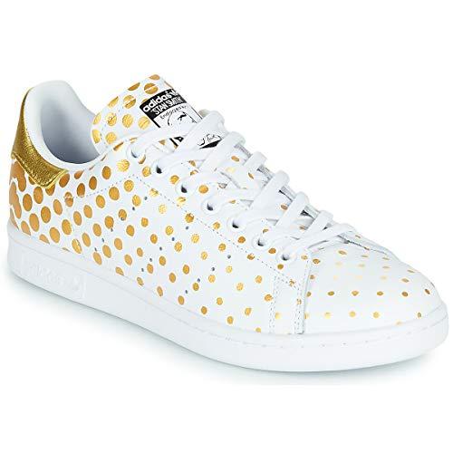 Adidas Originals Stan Smith W Zapatillas Moda Mujeres Blanco/Pois/Dorado - 38 2/3 - Zapatillas Bajas Shoes