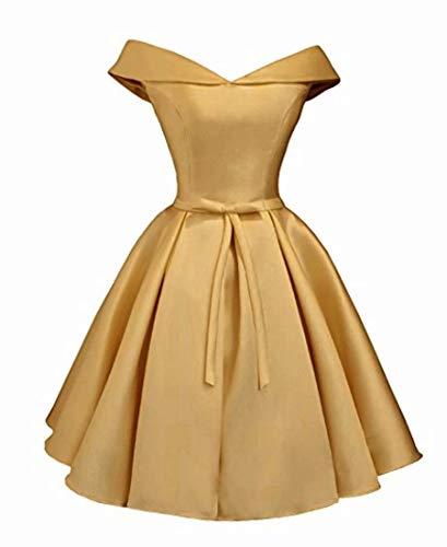 Beilite Women's Off Shoulder Satin A Line Short Homecoming Prom Dresses Gold 12