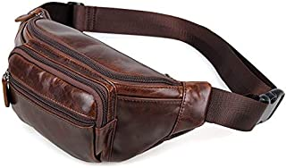 FYXKGLa Men's Genuine Leather Cool Style Waist Pack Simple Purse Retro Oil Wax Soft Leather Pockets (Color : Coffee)