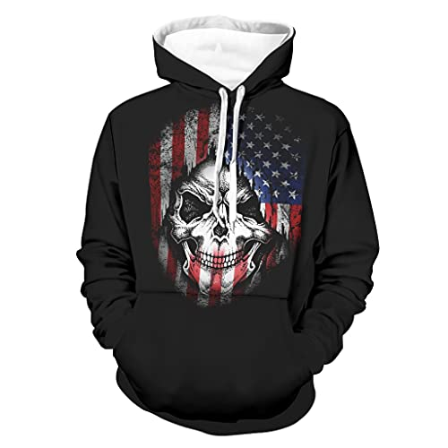 Shinelly Sudadera con capucha para hombre con diseño de bandera americana y calavera, manga larga, con bolsillos, ropa cotidiana blanco XXL