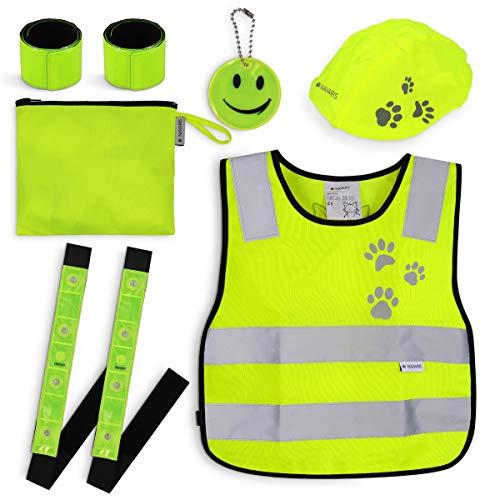 Navaris Sicherheits Set 7-teilig für Kinder - Warnweste für Straßenverkehr - Leuchtstreifen...
