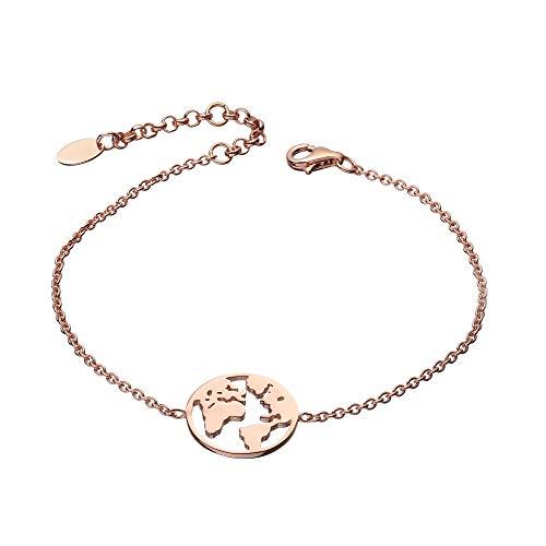 URBANHELDEN - Armband Weltkarte mit rundem Anhänger - Weltkugel Armband - Hochwertige Edelstahl Armkette - Damenarmband Schmuck - Worldmap - Rosegold