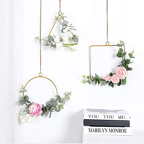 Kalaokei Aquarium Ornamente Zubehör Blumenkranz Metall Ring Dreieck Quadrat Party DIY Dekor Hoop Hanging Ornament Platz#