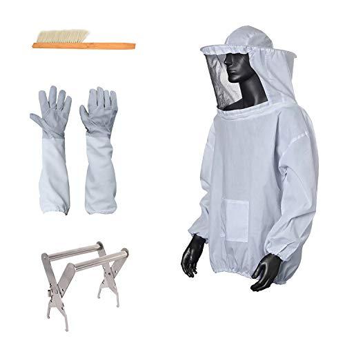 MINGMIN-DZ Dauerhaft 5pcs / Set Bienenzucht Jacke Bienenzucht Anzug mit Schleier Imker Jacke Handschuhe Bee Hive Bürste J-förmiger Haken Hive-Werkzeug-Set