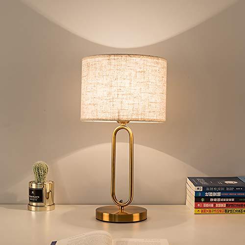 Lámpara de Mesa Oro Minimalista Lámpara de Noche Hotel Sala Creativo Decorativo Lámpara de Escritorio Pantalla de Tela Lámpara de Oficina Metal Luz para Leer, para Casa de Campo Espacio de Trabajo