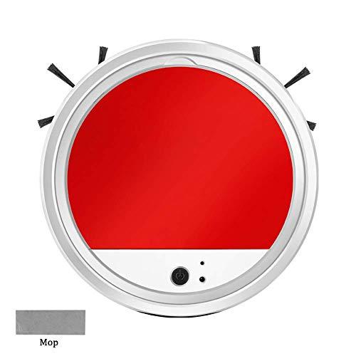 Robot Vacuum Cleaner, Muy Delgado y con anticolisión Barrer y trapear 2 en 1 Limpia Pisos Duros a Las alfombras Medio-Pile, Rojo LUDEQUAN (Color : Red White)