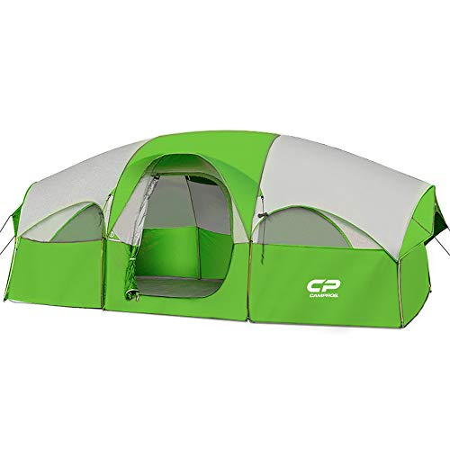 CAMPROS Tent-8-Person-Camping-Tents, Waterproof Windproof Family Tent, 5 Large Mesh Windows, Double Layer, Divided Curtain for Separated Room, Portable with Carry Bag, for All Seasons (Green)