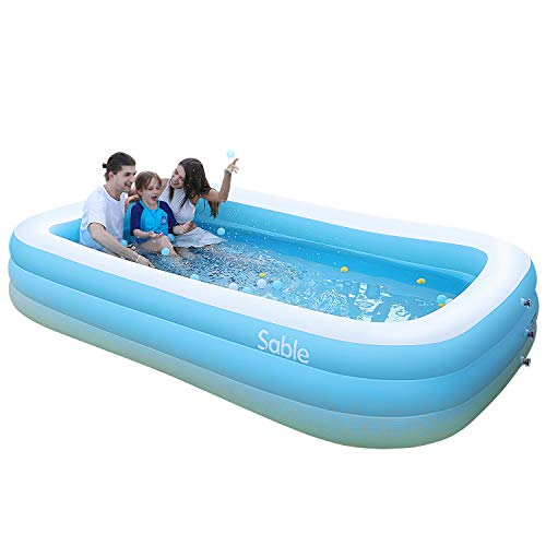 Sable Paddling Pool for Kids Adults, Swimming Inflatable Pool Rectangular Family Safe & Durable for Garden, Backyard, Indoor & Outdoor Ball Pool Blue& While, 300 X 183 X 56cm