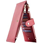 Travelambo Womens Walllet RFID Blocking Bifold Multi Card Case Wallet with Zipper Pocket Crosshatch (Gold Reddish 2139F)