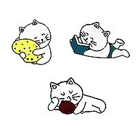 2-4pcs /セットかわいい動物のバッジのボタンのブローチピン猫豚ウサギサボテンの花のデニムシャツジャケット親友のjewelyryブローチ (サイズ : Style 4)