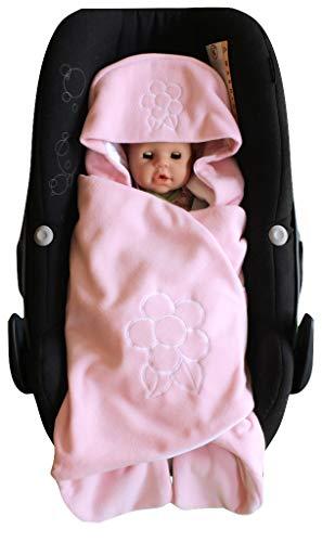 ByBoom–Einschlagdecke kuschelig Universal für die Übergangszeit und Sommer für Babyschale, Autositz (z.B. für Maxi-Cosi, Römer), Kinderwagen, Buggy oder Babybett, Farbe: Pink–Blume